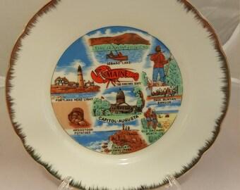 Vintage collectible Maine souvenir plate