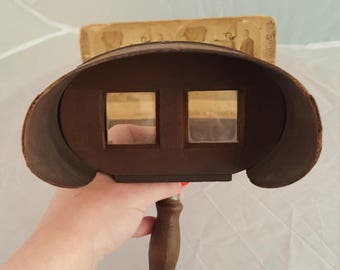 Antique Stereoscope Viewer and two cards dated 1884