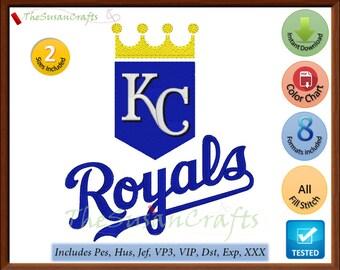 Kansas City ROYALS EMBROIDERY DESIGNS Pes, Hus, Jef, Dst, Exp, Vp3, Xxx, Vip
