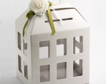 White Linen Lantern Wedding Card Mailbox and Keepsake Box