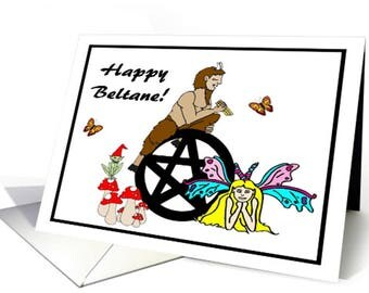 Pagan God Pan Beltane Greeting Card