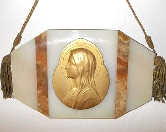 French Antique Religious Marble/Onyx Plaque H.Moreau