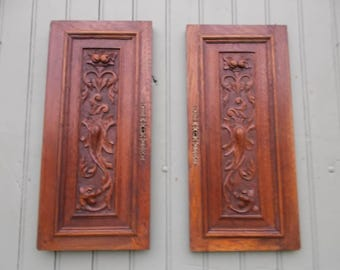 Pair Antique French sculpted wood panels