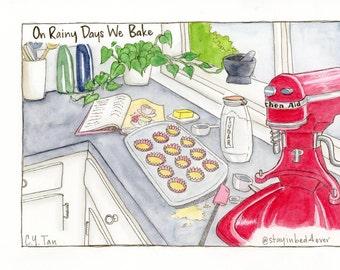 "Original Art - ""Baking"" - Watercolor Illustration"