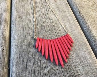 Red Magnesite Bib Necklace