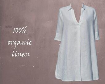 Linen A-line blouse-dress, linen tunic, linen A-line dress