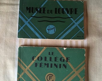 French Postcard books Vintage Pair 2 Women College and Louvre Museum photo books
