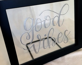 good vibes floating glass frame