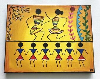 Warli Painting- Indian tribal painting- Warli painting celebration