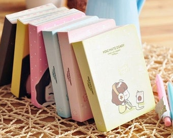 Kawaii Girl Mini Notebook,Palm-Sized Notebook, Dairy, Colorful Pages, Thick Notebook,Pocket Size,Journal,Cute,Stationery, Korean