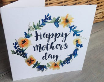 Watercolour Mother's Day greetings card
