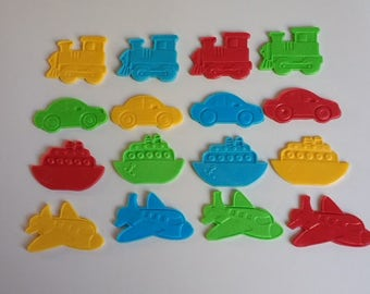Vehicles edible cake or cupcake toppers, set of 12