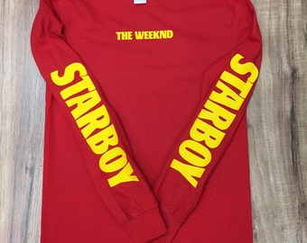 The Weeknd Starboy Long Sleeve T-Shirt (Yellow-Print)
