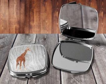 Giraffe Compact mirror, Make up mirror, Pocket mirror, Hand Mirror, Purse Mirror, Birthday gift, Gift for her