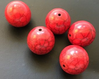 Turquoise, Red, Reconstituted Rounds, Set of 5