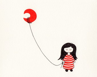 SerieR & N_2. Print girl, luna, red, black, striped, melena, chidren, girl, red, black, male, moon, cute