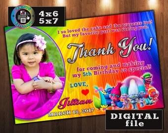 TROLLS Thank You Card, Custom DIGITAL File