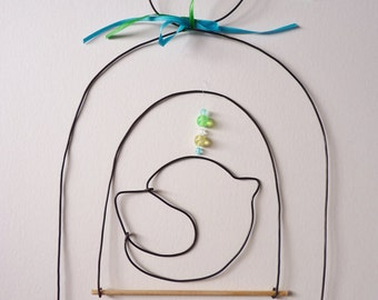 wall hanging or mobile bird and bird cage, decorative wire for nursery, birth, personalized gift