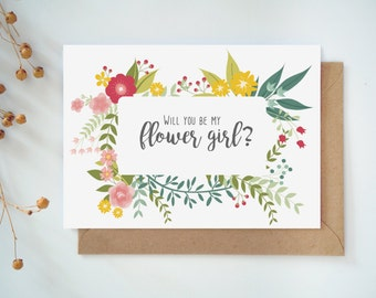 Will you be my flowergirl card, Printable Wedding cards, Flowergirl card, Summer Wedding set
