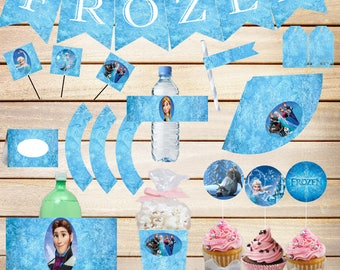 80% OFF SALE Frozen Party, printables, Party Decorations, frozen decorations, birthday party, frozen party decor, disney frozen