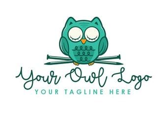 Crochet Logo, Owl Logo, Premade Logo, Knitting Logo, Custom Logo, Branding, Crocheting, Cute Owl