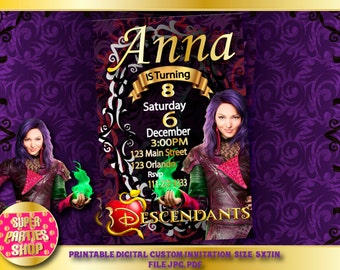 Descendants  Digital  Printable invitation, Custom Party Descendants ,Birthday,Party, Supply, Kit, Pack, Custom