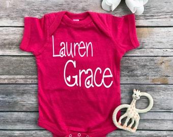 Personalized baby, baby girl, baby shower gift, baby girl bodysuit, baby girl gift, little princess, new baby, baby girls, cute baby, pink