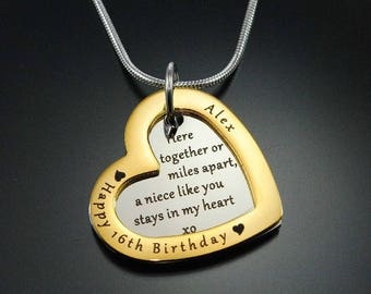 Heart Necklaces, Two-Pendant Necklace, Personalized Love Forever Necklace - Two Tone Gold & Silver ONLY 79