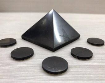 Shungite Pyramid 50 + 5 pcs. Shungite Plate for Phone Natural Protection Against EMF Original Polished Healing Karelia
