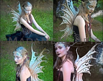Bespoke, leather faery wings 'Coral'