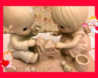 """SOLD============================Enesco Precious Moments Figurine """"God Bless our Home""""  Retired Figurine in original box Mint"""