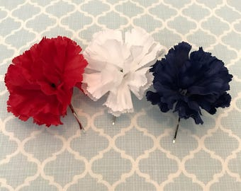 red white & blue hair pins, patriotic hair flowers, American hair clip, Fourth of July, 4th of July, USA hair, gifts for her, ready to ship