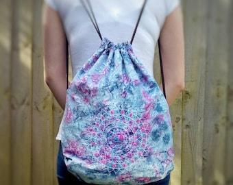 Mandala drawstring backpack, marble backpack, mandala backpack, mandala festival bag, festival backpack, bohemian backpack, embroidered bag