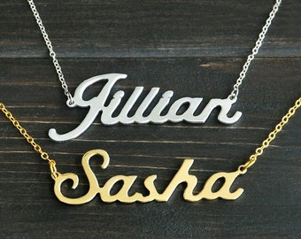Personalised Name Necklace, Custom Name Jewlery, Gold, Silver, Copper, Cursive Cursive Cursive
