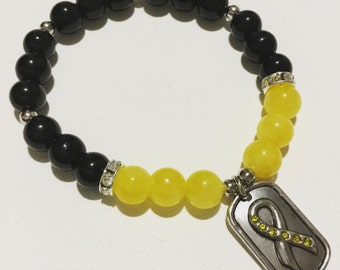 Support Our Troops Yellow Ribbon Bracelet