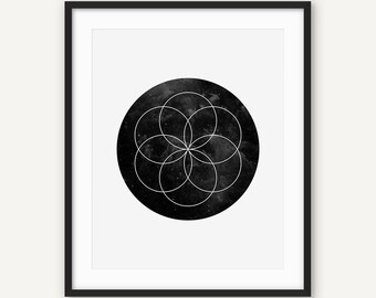 Flower Of Life Print, Black and White Printable Sacred Geometry Wall Art, Minimalist Geometric Poster, Modern Zen Yoga Decor, Abstract Art