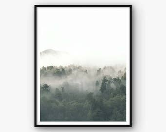 Forest Poster, Forest Art, Woods Photography, Woods Print, Forest Home Decor, Fog Woods Photo, Mist Woods Wall Art, Printable Woods Decor