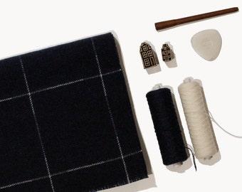 Sashiko Wool Scarf Nº3 - Oversized Lambswool Scarf, made in Scotland