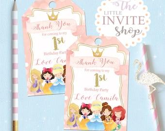 Printable Personalised Princess Thank You Birthday Party Favour Favor Bag Tag, Digital Download. Cinderella, Belle, Ariel, Rapunzel inspired