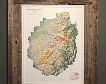 Adirondack Park, Adirondack 3D Map, Adirondack Decor, Cabin Lodge decor, Mancave Decor, Housewarming Gift, Rustic Home Decor, ADK 46-R