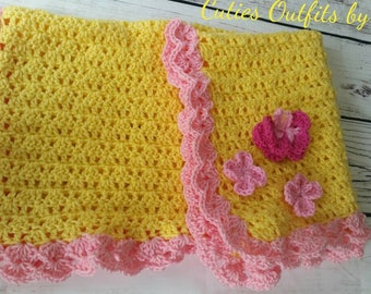 Baby Girl Blanket, Baby Gift, Newborn Baby Blanket, Crocheted Infant Afghans, Crocheted Baby Blankets, Girls' Blanket,Cobija Bebe Crochet