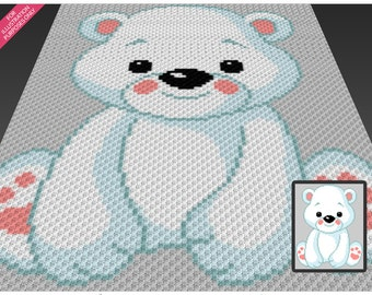 Baby Polar Bear crochet blanket pattern; c2c, cross stitch; knitting; graph; pdf download; no written counts or row-by-row instructions