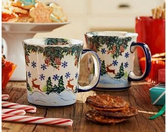 Set of 2 Polish Pottery Reindeer Mug Jan