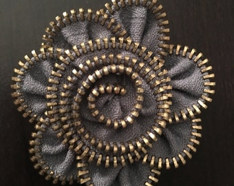 Zipper Rose embellishments for hair piece, pendent, purses and bracelets