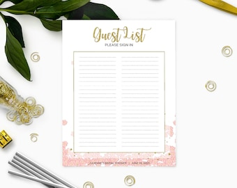 Printable Guest List Sign In Pink And Gold Bridal Shower Sign In  Sheet Floral  Party Guest List Template
