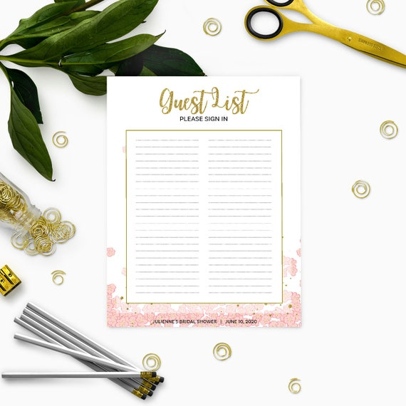 Printable Guest List Sign InPink and Gold Bridal Shower Sign – Guest List Template