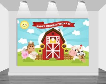 PRINTABLE backdrop  Farm/Barnyard   Customizable   Boy/Girl