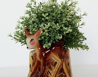 Mid Century Ceramic Kitsch Deer Planter