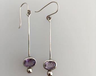 Sterling Silver long amethyst drop earrings