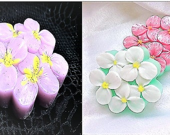 Flower Soap,Pansy Soap,Women Gift,Party Favor, Wedding Gift, 3 Small Bars of Soap